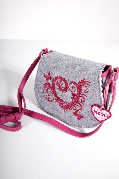 Trachtentasche aus grauem Filz mit pinken Details
