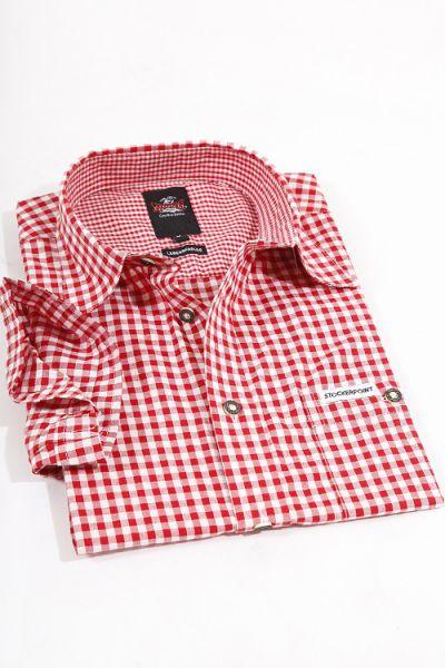 Trachtenhemd Kurzarm Renko von Stockerpoint in rot weiß