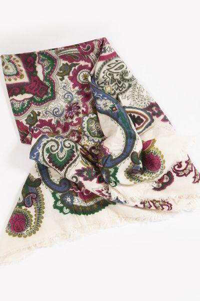 Herrliches großes Trachtentuch / Trachtenschal in creme, pink und grün  tuch