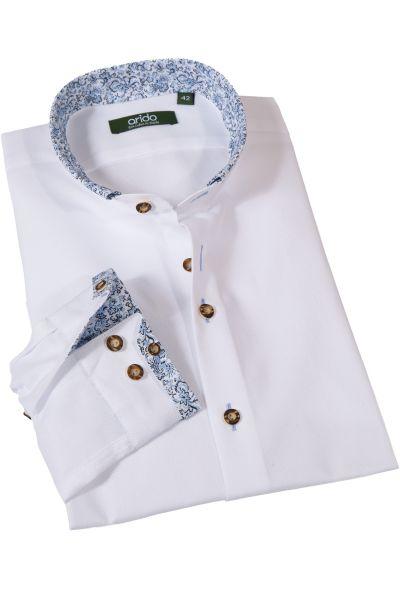 Trachtenhemd in weiß mit Stehkragen und blauer Hirschstickerei