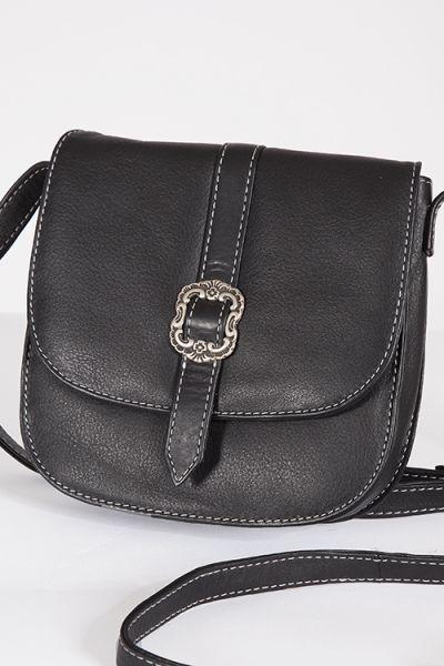 Elegante kleine Trachten Tasche aus echt Leder in schwarz