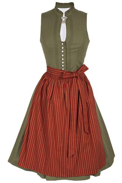 Midi Dirndl Oda hochgeschlossen aus Baumwolle in grün und rot