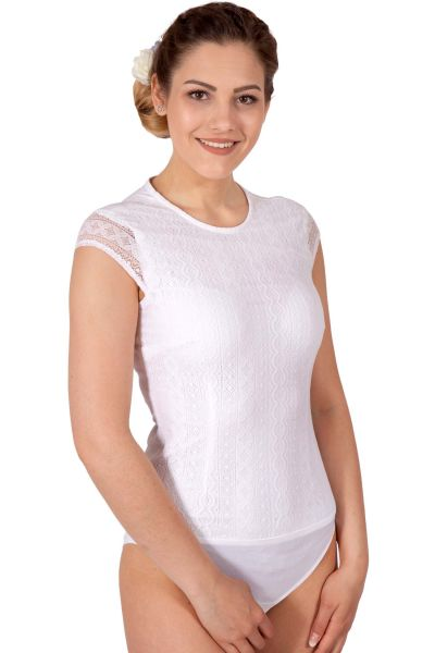 Blusenbody als Trachtenbluse in weiß mit Spitze