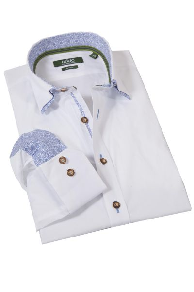 arido Trachtenhemd in weiß mit blau Slim Fit