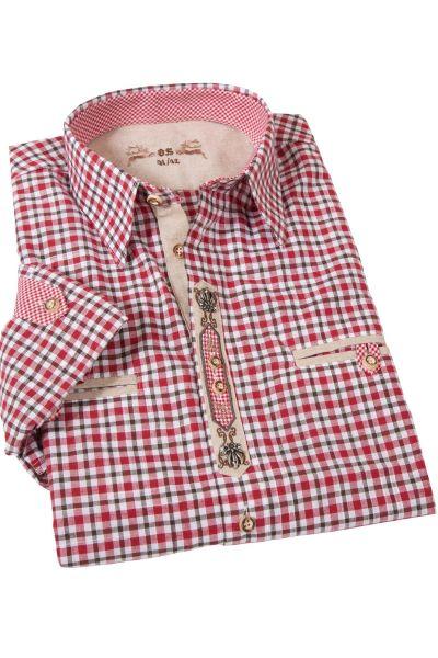 Landhaus Trachtenhemd rot braun kariert