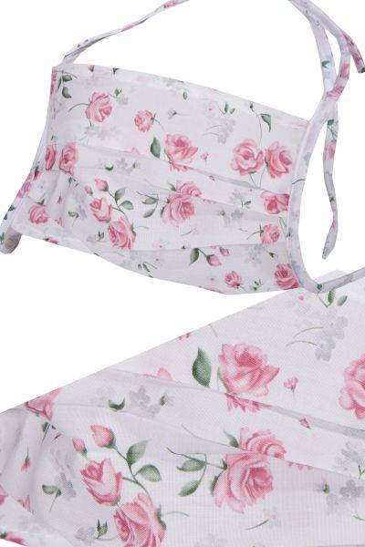 Trachten Gesichtsmaske in weiß rosa mit Rosen
