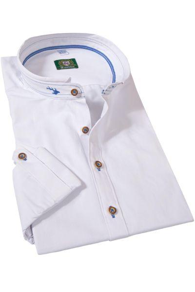 Trachtenhemd in weiß mit blauen Details und Stehkragen
