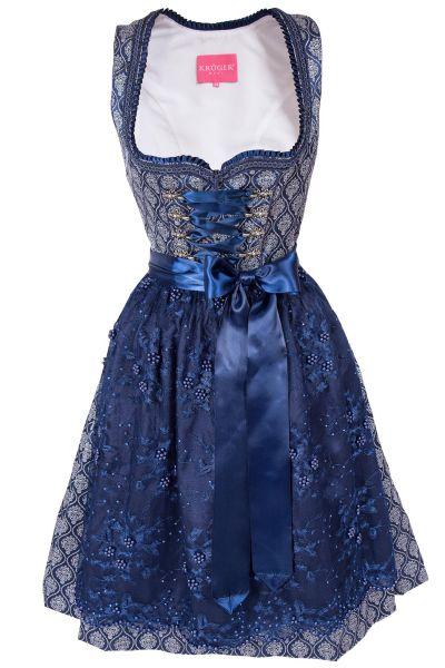Mini Dirndl in dunkelblau mit Glamour