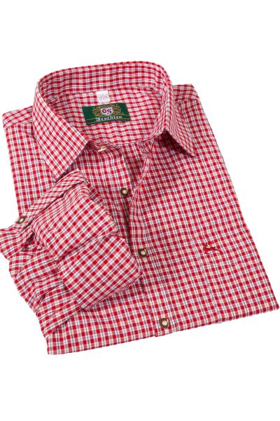 Trachtenhemd in Karo rot mit Krempelarm