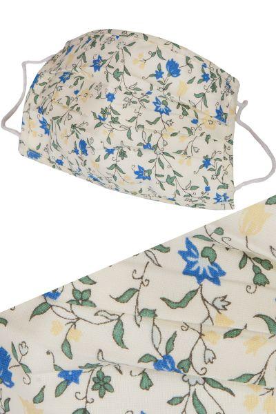 Gesichtsmaske blumig im Trachten Stil aus Baumwolle