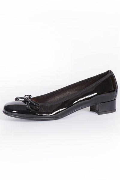 Trachten Pumps für Damen in schwarz Lack aus Leder mit Schleife