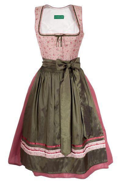 Midi Dirndl im Vintage Design in rosa und dunkelgrün