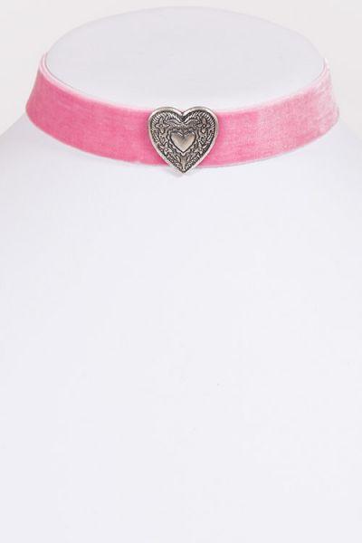 Trachtenkette Choker in rosa aus Samt mit Herz