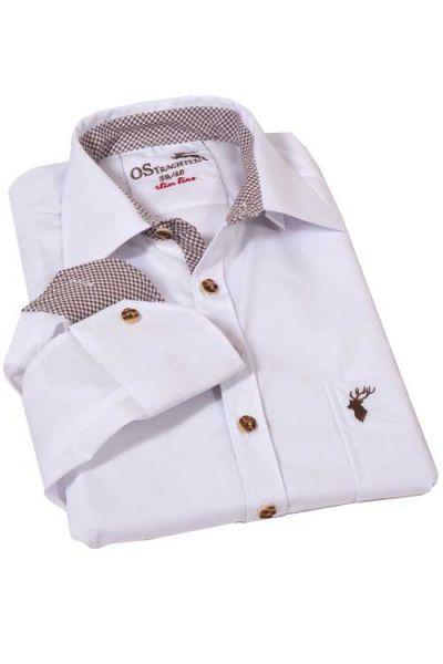 Herrenhemd zur Tracht in weiß mit braunen Karos