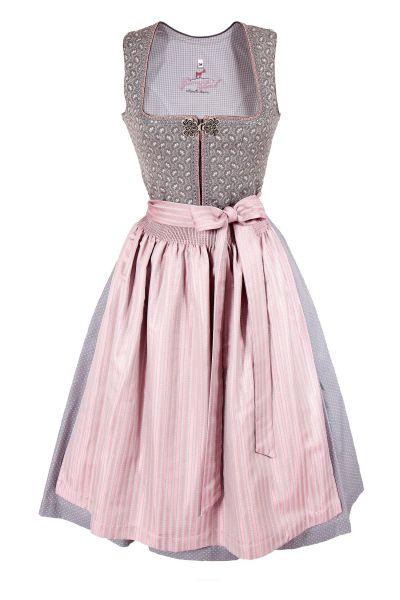 Midi Dirndl in silbergrau und rosé mit Silberschließe