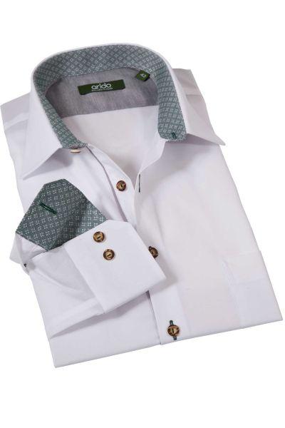 Trachtenhemd in weiß mit grün von arido