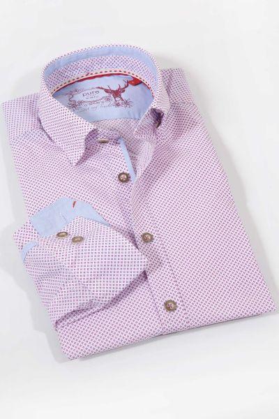Elegantes Trachtenhemd in weiß und magenta  mit Punkten