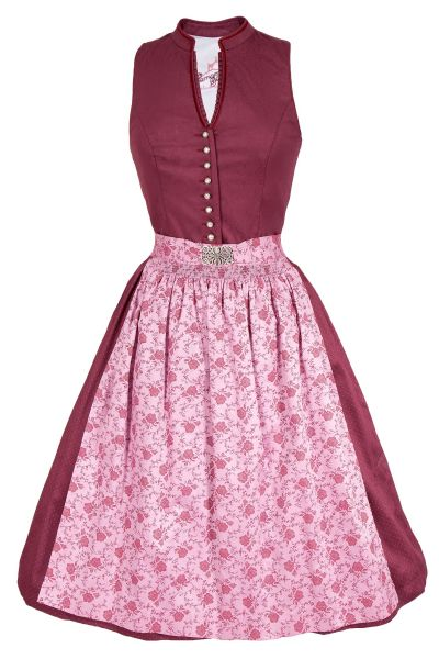 Midi Dirndl Veronika in bordeaux und rosa