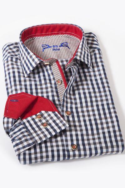 Trachtenhemd leicht kariert dunkelblau braun und weiß  1