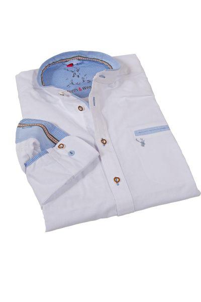 Trachtenhemd in weiß aus Leinen mit Stehkragen