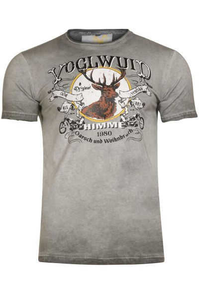 Herren Trachten T-Shirt Voglwuid in grau