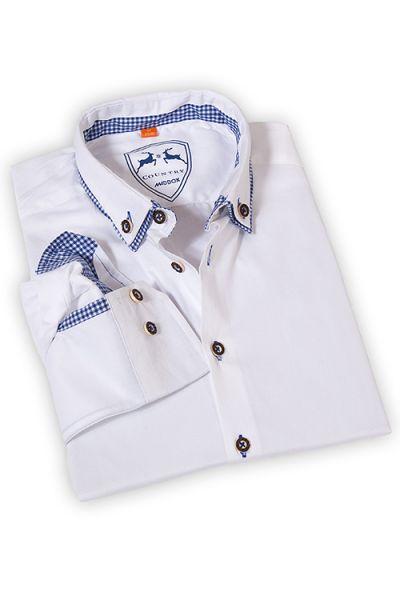 Herren Trachten Hemd langarm in weiß blau von Maddox