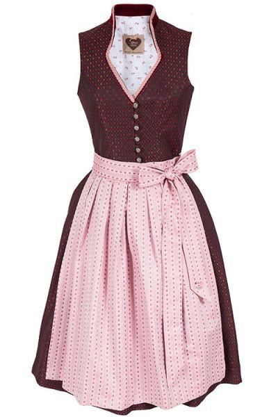 Designer Dirndl Paula von Alpenherz in bordeaux und rosa
