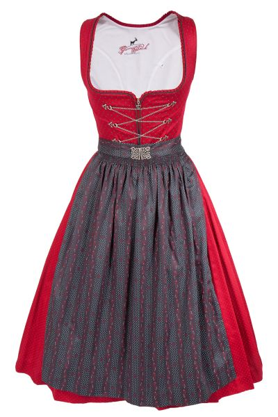 Midi Dirndl Tessa aus Baumwolle in rot und anthrazit
