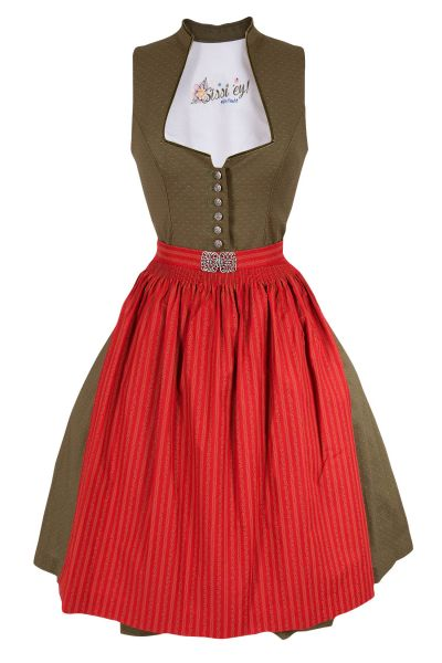 Traditionelles Midi Dirndl Iris in moosgrün und rot