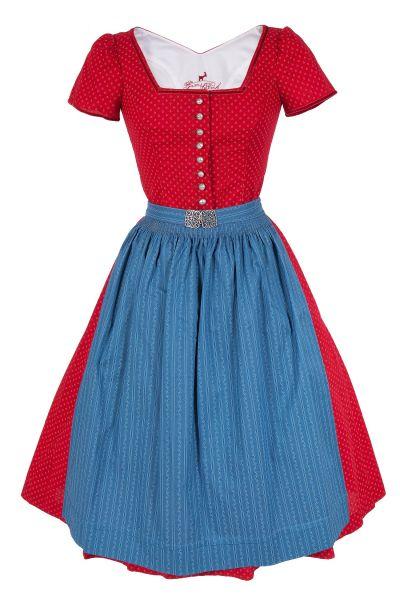 Retro Dirndl Cornelia in rot und blau mit Ärmel