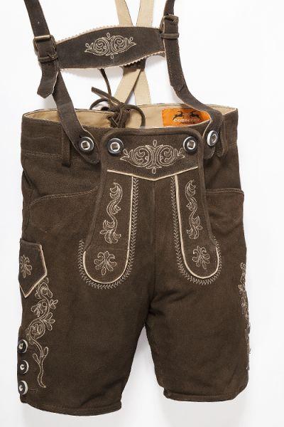 Kinder Lederhose braun mit Träger bestickt  1