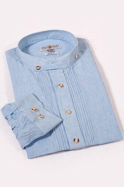 Trachtenhemd Slim Fit in hellblau mit Stehkragen und Biesen