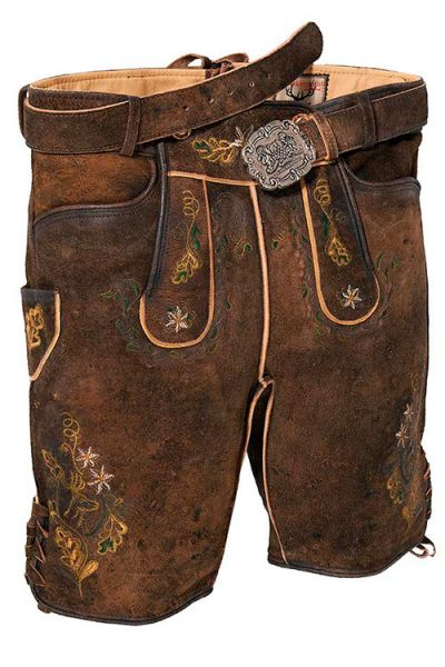 Kurze Lederhose in Biber Antik von Stockerpoint mit Gürtel