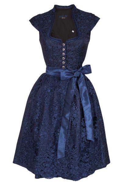 Midi Dirndl Emilia in dunkelblau mit Ärmel und Spitzenschürze