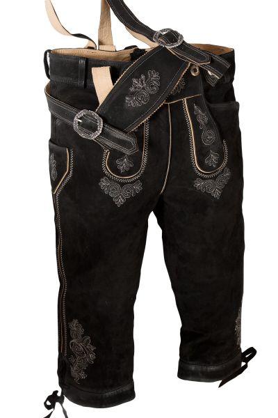 Kniebund Lederhose Justin in schwarz mit Träger