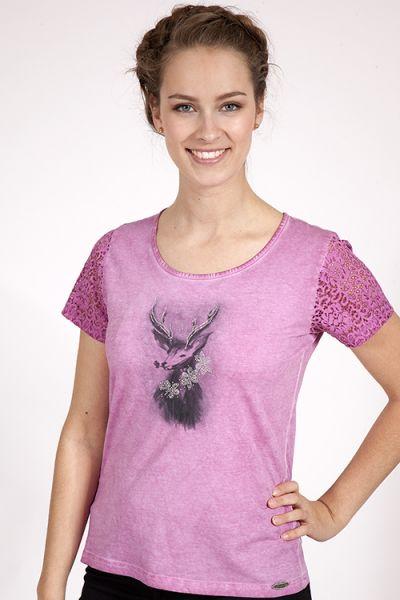Trachten Shirt in pink von Country Line mit Spitzenärmel