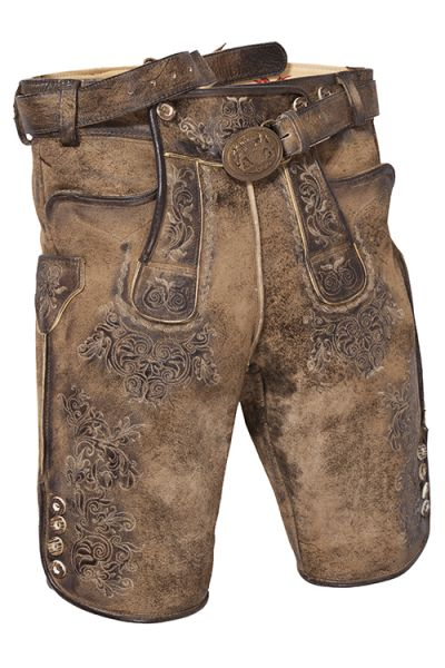 Plattler Dedrich antik natur braun aus echtem Leder mit Träger