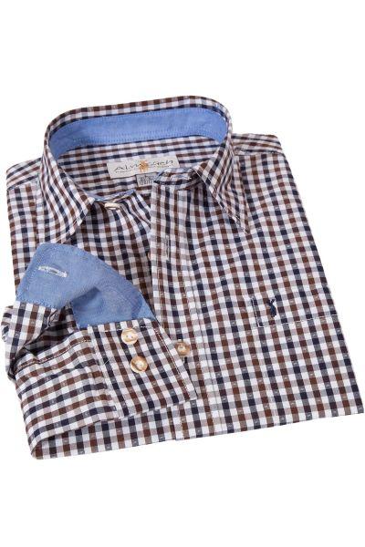 Kinder Trachtenhemd in dunkelblau, braun & weiß kariert
