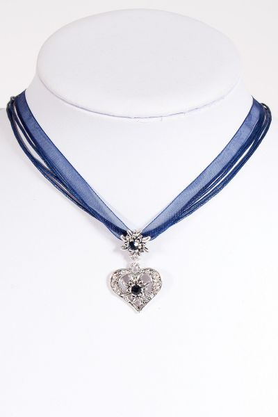 Trachtenkette in dunkelblau mit Chiffonband und Herz