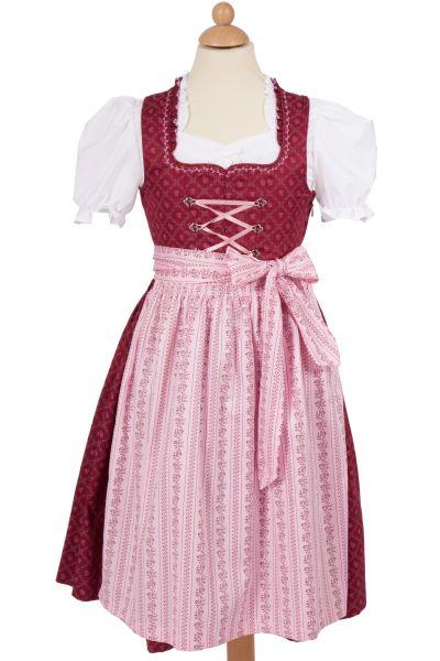 Kinder Dirndl Natalie in bordeaux und rosa