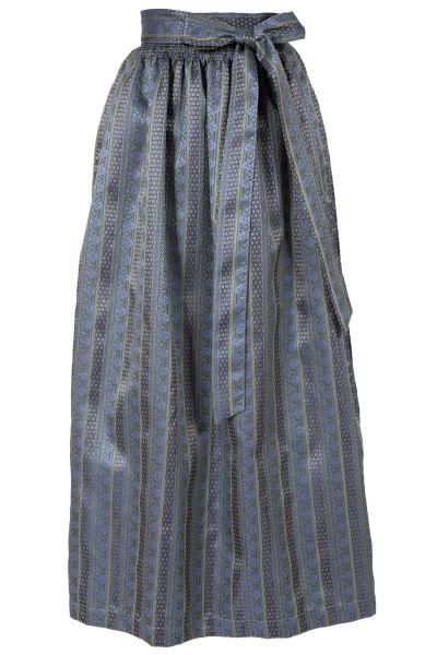 Dirndlschürze lang 95 edel in dunkelblau mit Silberschließe
