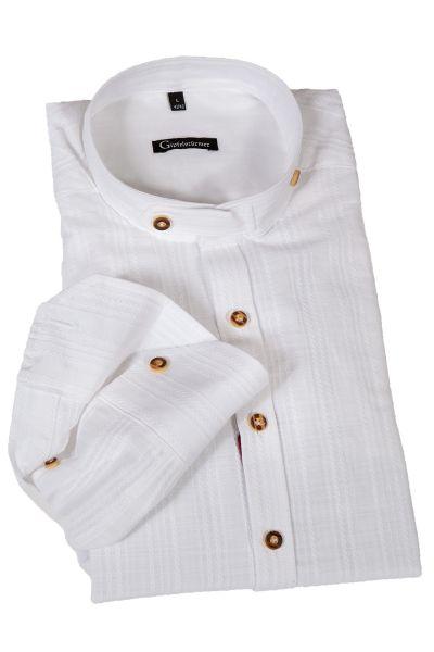 Trachtenhemd in weiß mit Stehkragen und Einwebungen