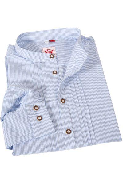 Trachtenhemd mit Streifen in weiß und hellblau