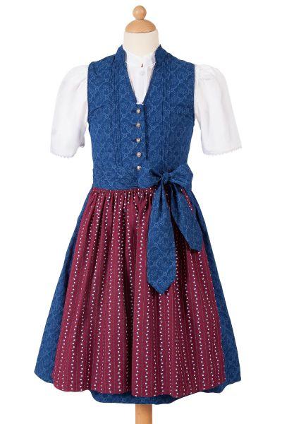 Kinder Dirndl Veronika aus Baumwolle in blau