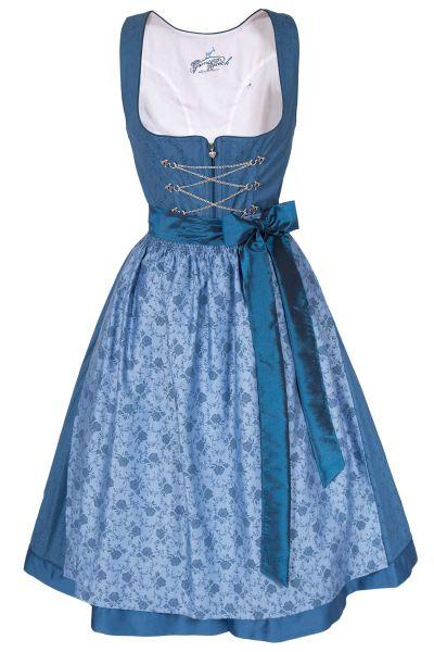Midi Dirndl Tessa aus Baumwolle in blau mit Schnürun