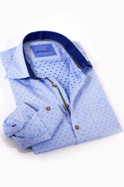 Herren Trachtenhemd in wasserblau mit Strukturwebung
