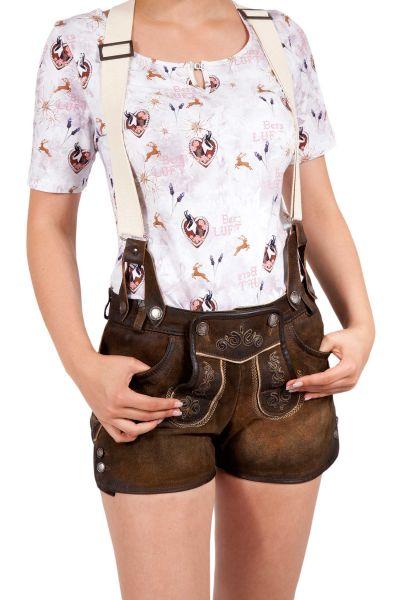Lederhose kurz für Damen mit Träger lässig dunkelbraun