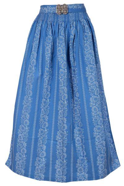 Dirndlschürze lang 90 cm aus Baumwolle in blau