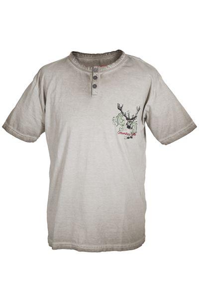 Trachten T-Shirt für Herren in beige mit Hirschkopf von Lekra