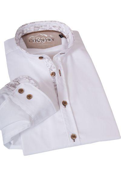Weißes Trachtenhemd mit Stehkragen und braunem Dekor